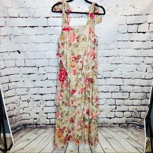 H&M Floral Tie Shoulder Layered Maxi Dress
